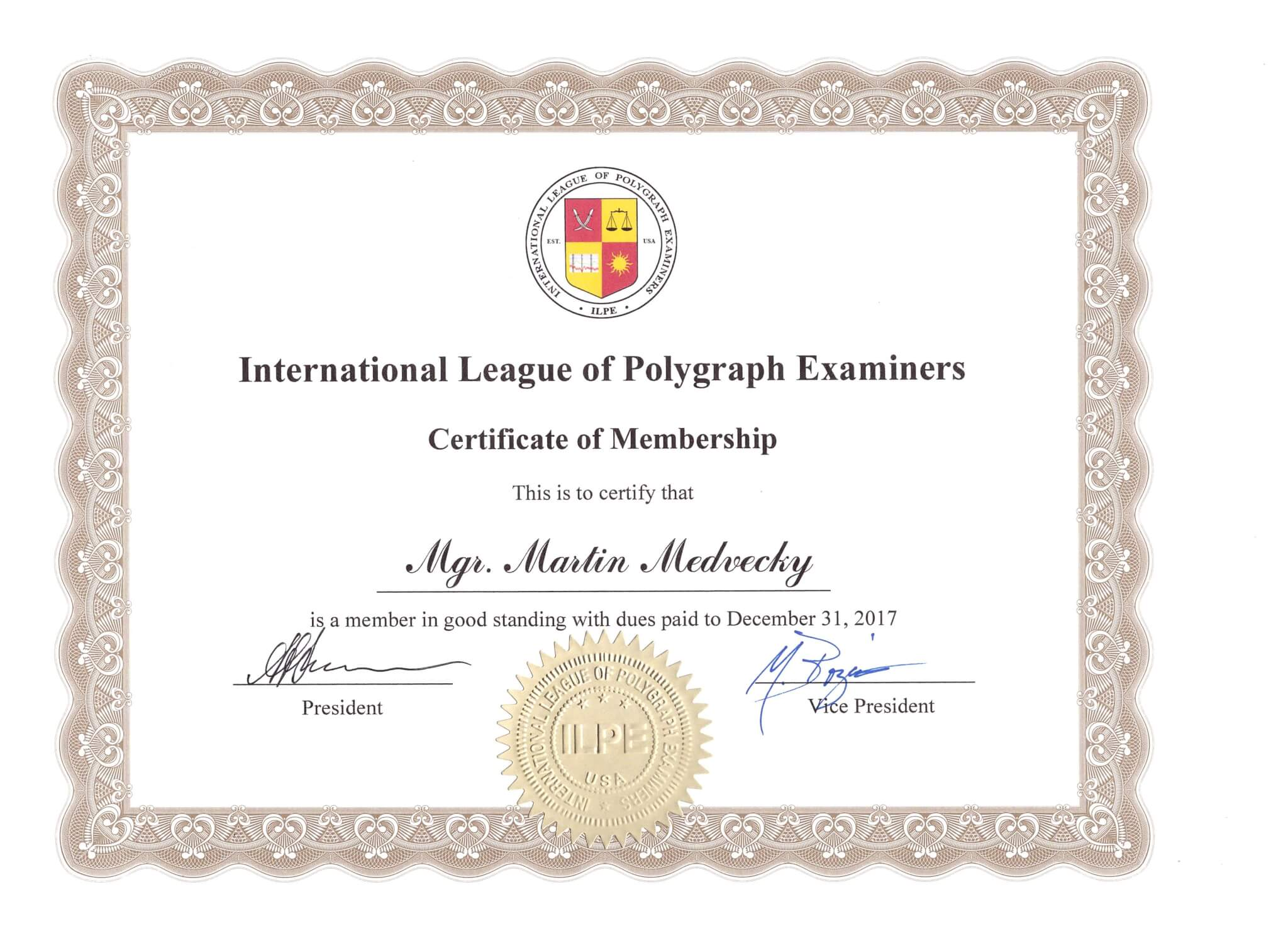 Certificate of membership 2017