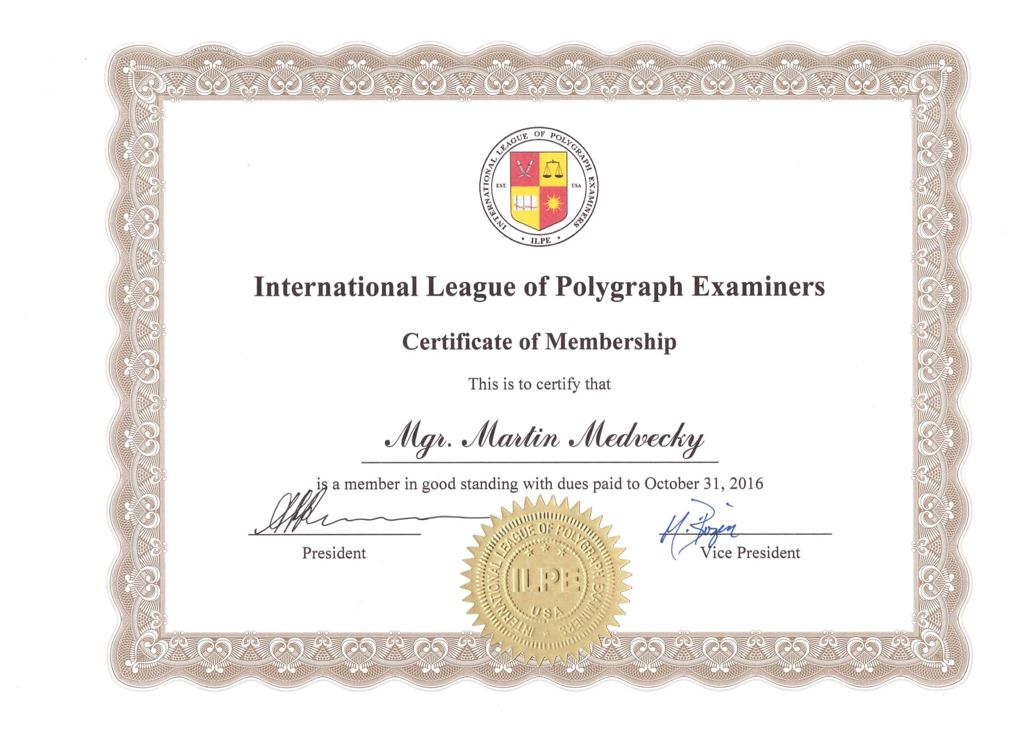 Certificate of membership 2016