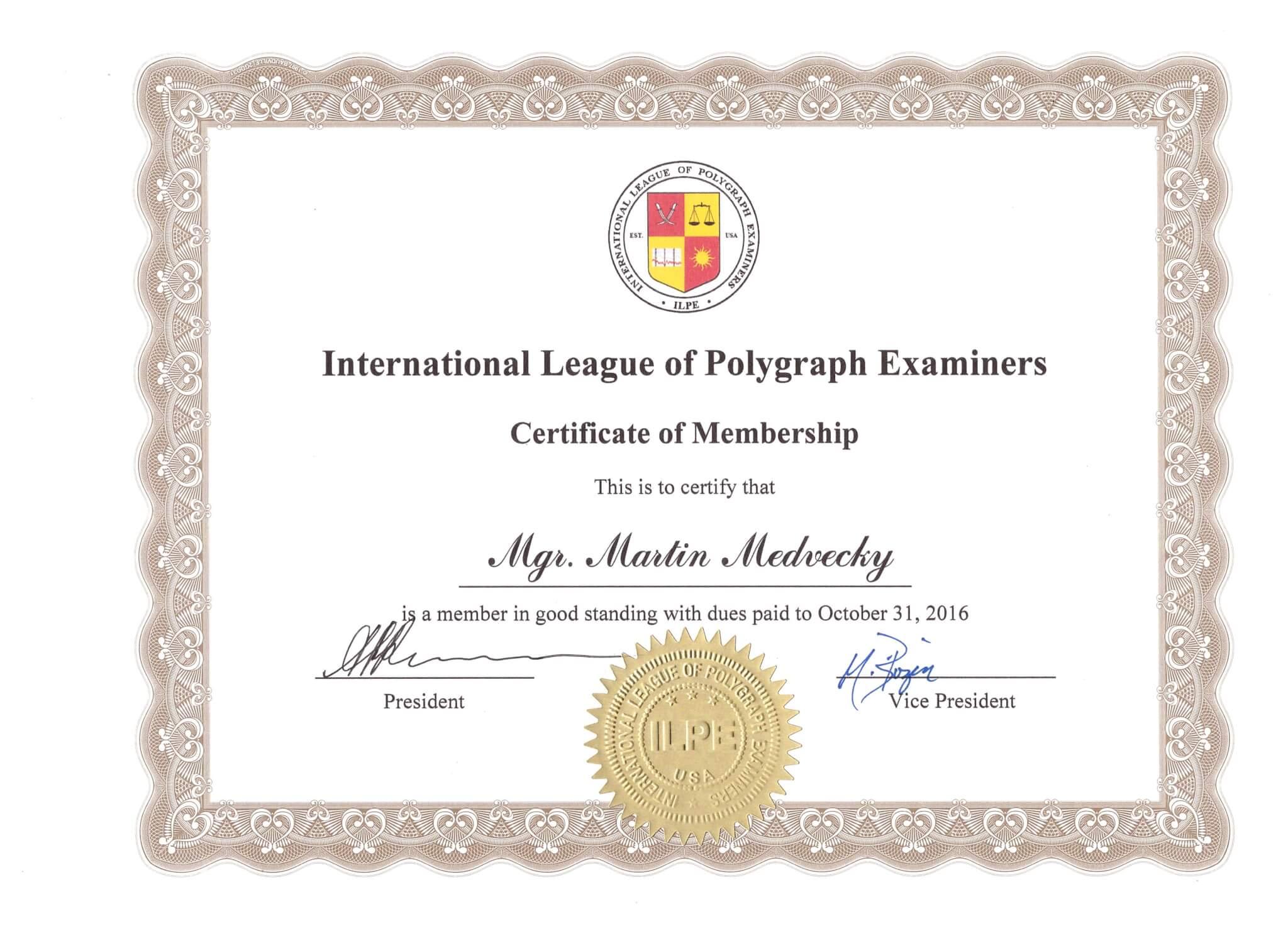 Certificate of membership 2016