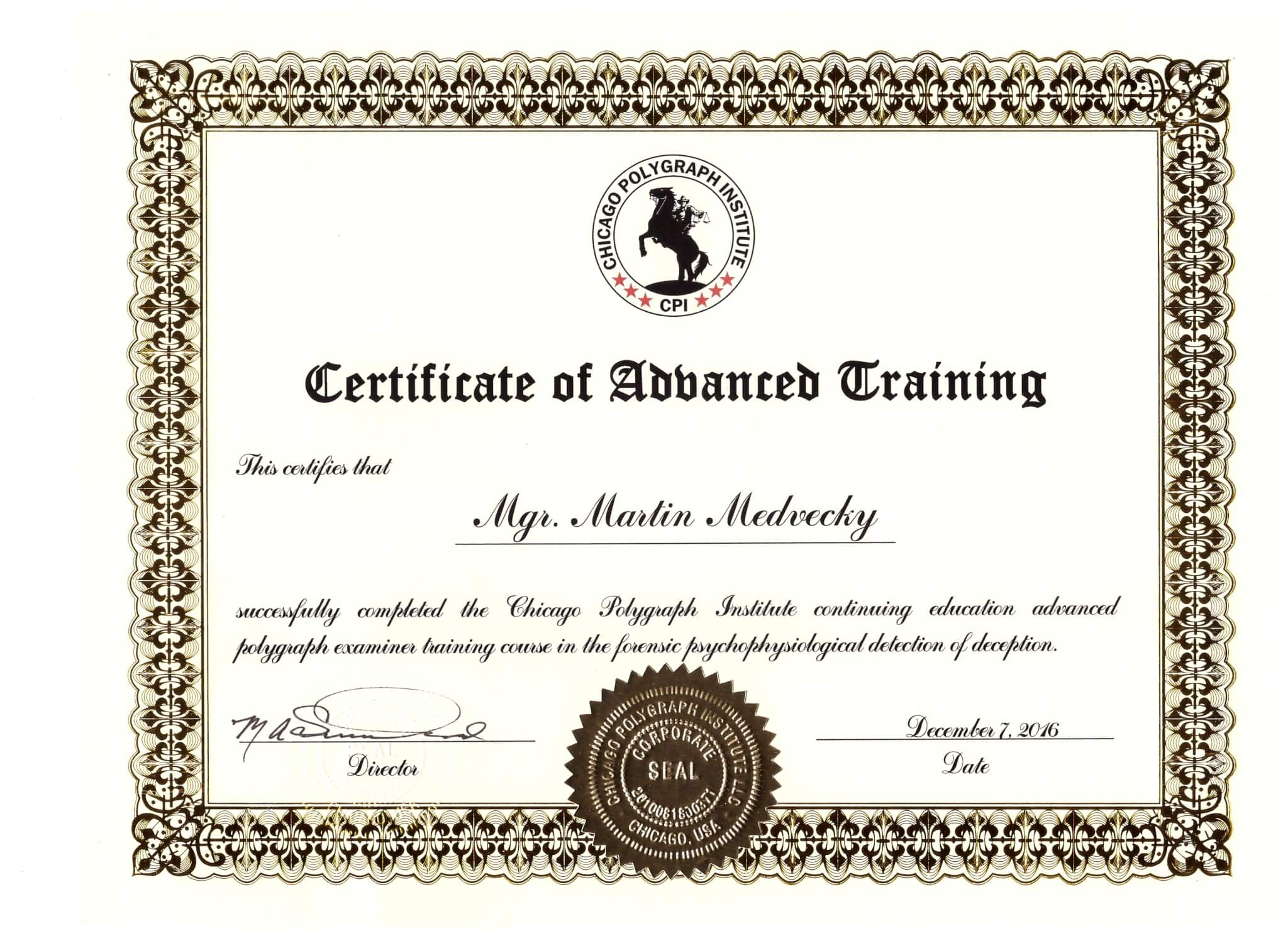 Certificate of Advanced training 2016