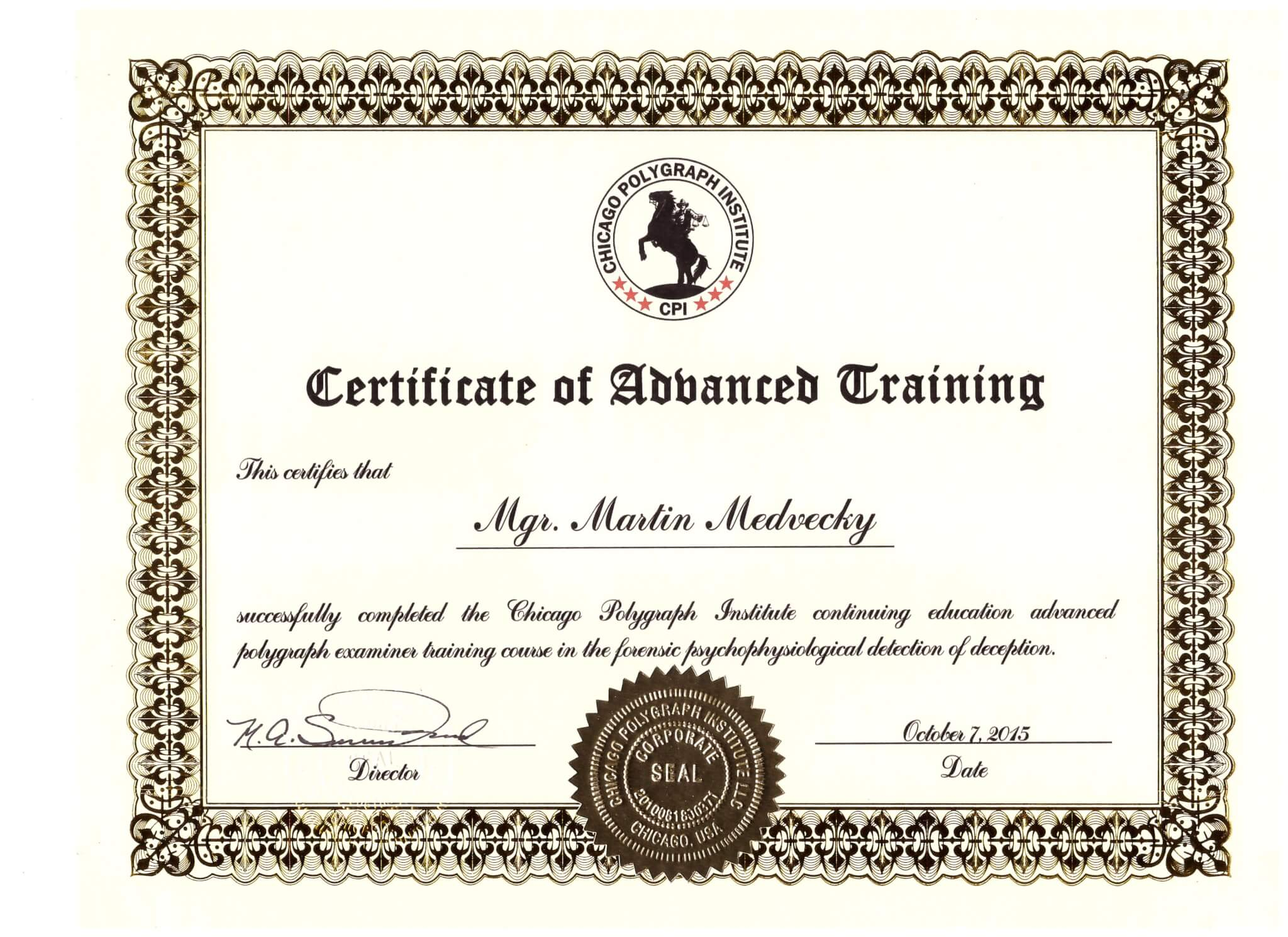 Certificate of Advanced training 2015